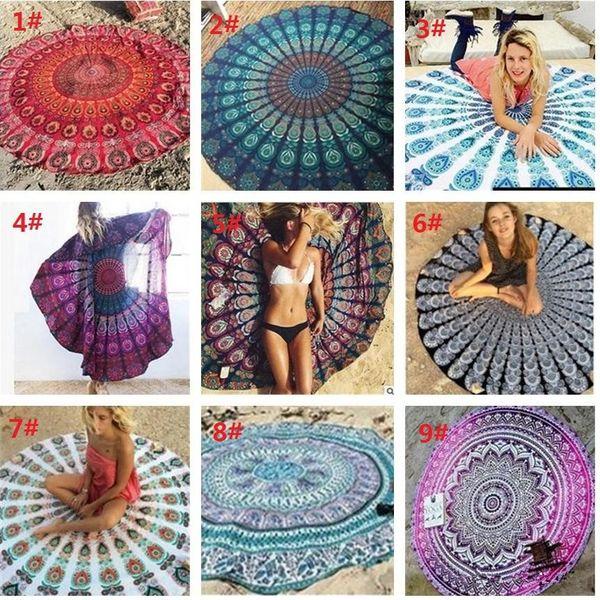Hot 35 sty Mandala Chiffon Round Beach Towel Throw Tapestry Hippy Boho Gypsy Tablecloth Bath Towel New Bohemian Wind Square Beach Towel B680