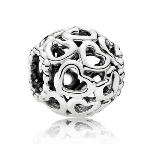 Europäische Silber Überzogene Großes Loch Charms Spacer Lose Perlen Fit Pandora Armbänder 925 Schmuck Hohl Herz für Verkauf Mädchen Mom Handmade Diy