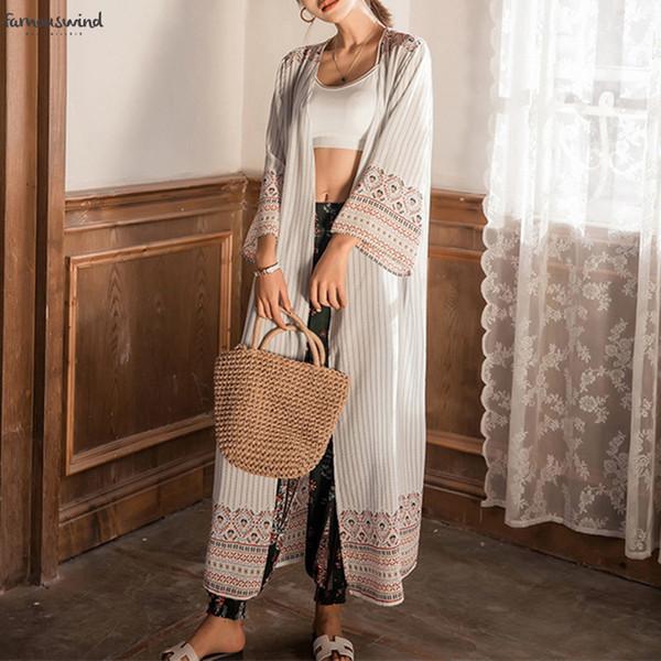 2019 camisas blusas rebecas Moda gasa del verano de la manga tribal Impreso kimono largo larga de las señoras Ropa Femenina Ca8091