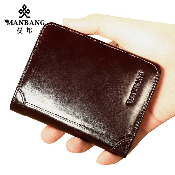 Manbang Genuine Cowhide Leather Men Wallet Trifold Wallets Fashion Design Brand Purse Id Card Holder Purse Gift For Men Y19052302