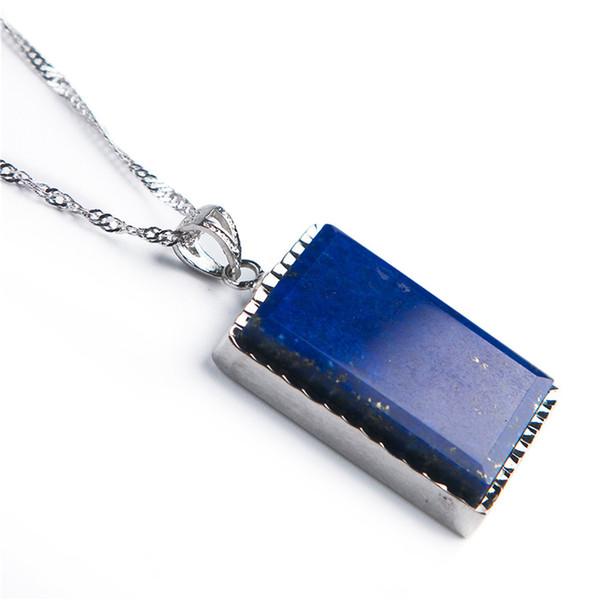 Wertvolle blaue natürliche Lapislazuli Edelstein Rechteck Healing Kristallkorn-Anhänger Frau Mann-Mode-Silber-Schmucksachen 27 * 22 * 6mm