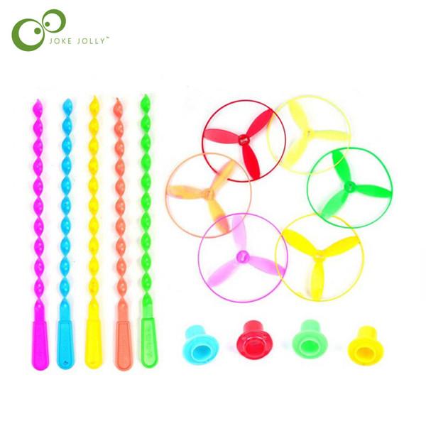 5 pçs / lote 5 pçs / lote novidade Brinquedos atacado disco de fadas UFO roda voadora giroscópio Feitas à mão bambu libélula presente WYQ