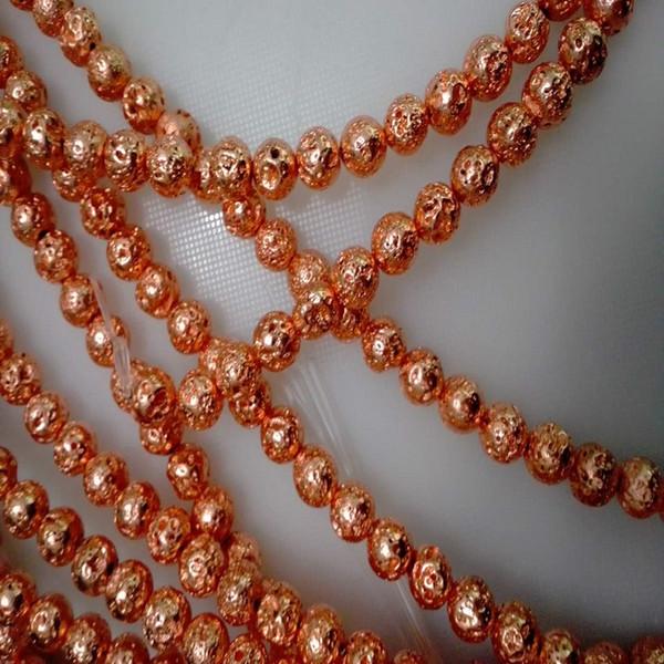 6 MM / 8 MM / 10 MM Rose Gold Überzogene Naturstein Strang Perlen Für Schmuck Machen DIY Schmuck Zubehör