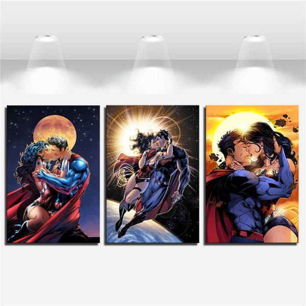 Superman,Wonder Woman -4,3 Pieces Canvas Prints Wall Art Oil Painting Home Decor (Unframed/Framed) 16x24x3.