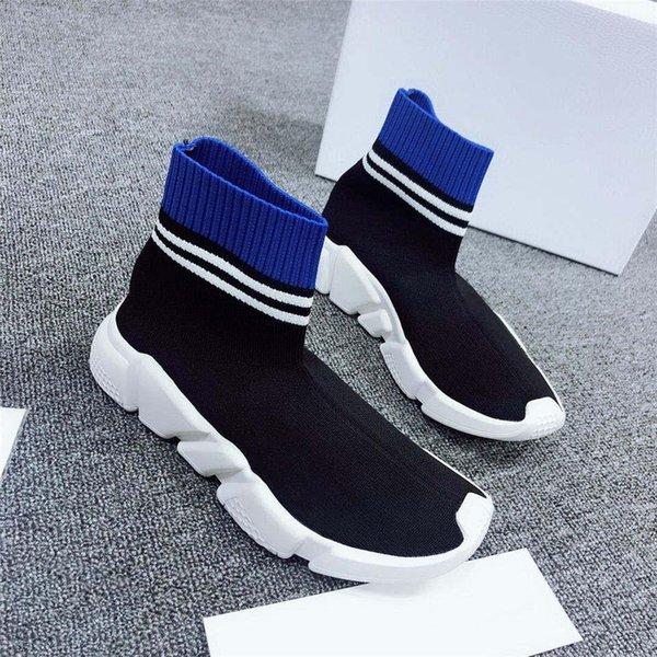 Zapatos de calcetín de lujo Zapatos casuales Speed Trainer Zapatillas de deporte de alta calidad Speed Trainer Calcetín Race Runners Contraste color mujer Zapatos de lujo Azul