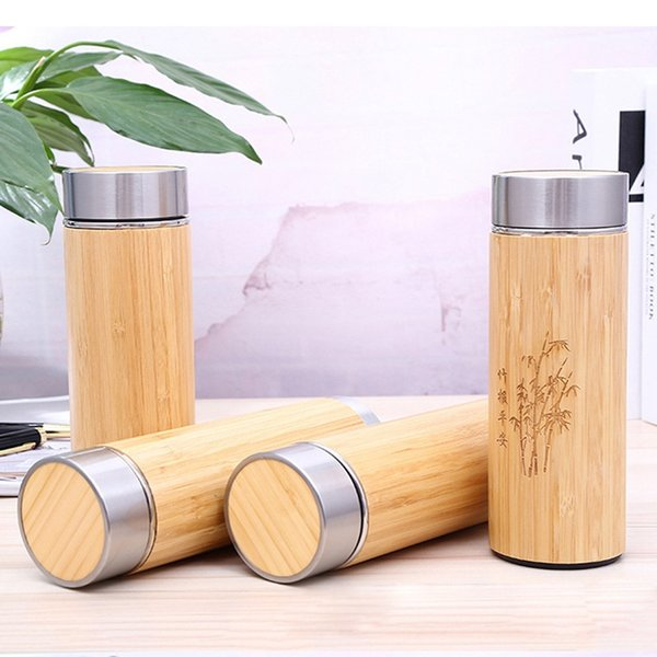 Bamboo Stainless Steel Vacuum Cup Stainless Steel Thermal Cup 450ml Purple Sand Ceramics Liner Water Bottle Thermos Drinking Cup BH2283 TQQ