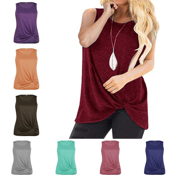Summer Women T-shirt Sleeveless Tank Suspenders Vest Solid Color Tied Knot Tops Tees Irregular Sports Jogging Club Casual Tank Camis A42902