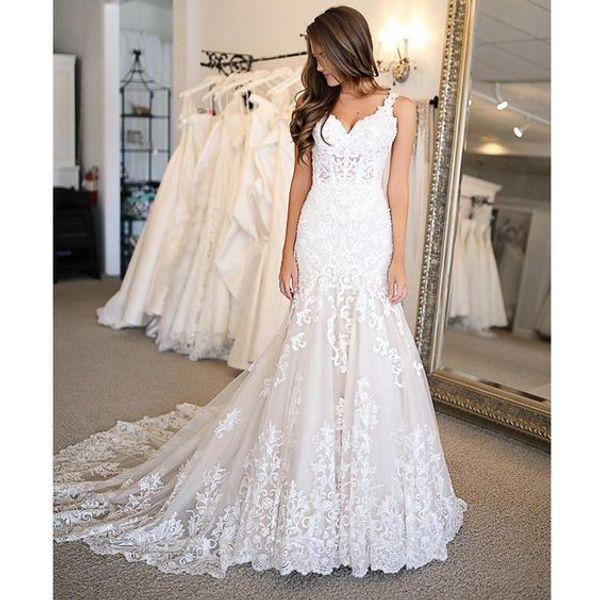 Sexy abiti da sposa a sirena lunga 2019 nuovo senza maniche scollo av Sweep Strain Applique da sposa abito da sposa abiti da sposa