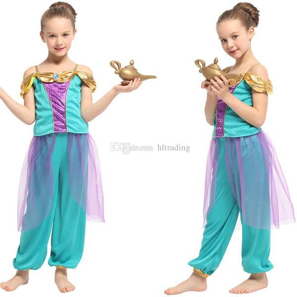 Ropa de diseñador para niños niñas Aladdin Lámpara Jasmine Princess trajes niños Cosplay disfraces de Halloween de dibujos animados para niños Ropa conjuntos C6816