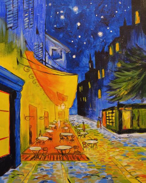 Compre La Pintura De Vincent Van Gogh Aceite En La Lona De La Decoración Terraza Del Café En La Noche Decoración Artesanías H Impresión Del Arte De