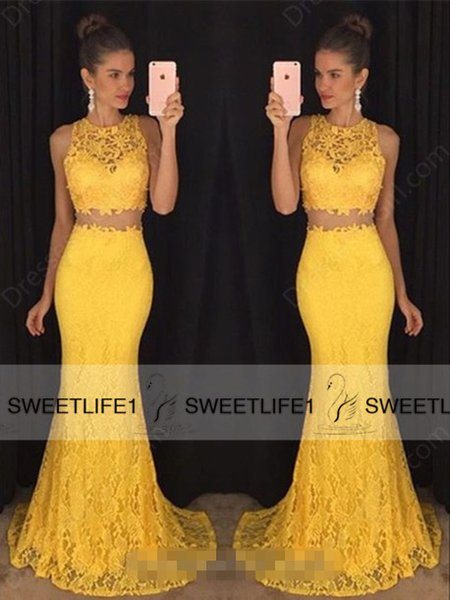 Duas Peças Amarelo Vermelho Colorido Do Laço Prom Dresses Custom Made Tripulação Pescoço Sem Mangas Sereia Longa Formal Evening Pageant Vestidos com Trem Da Varredura