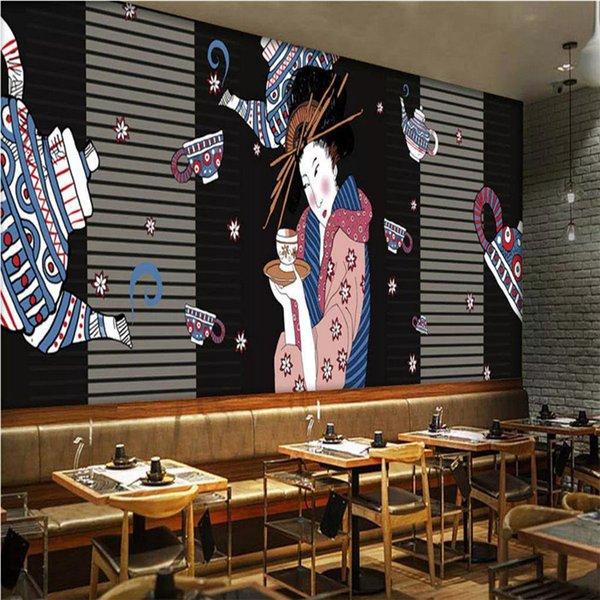 Японская ручная роспись гейши залить вино фреска обои 3D японская кухня суши ресторан промышленный декор обои 3D