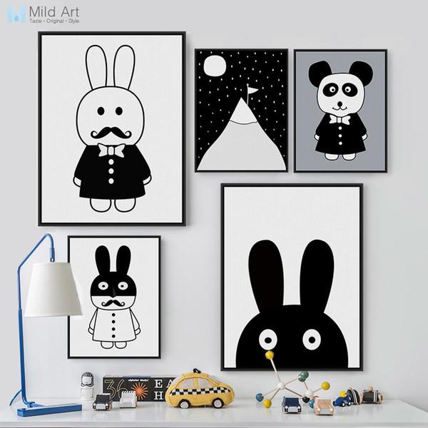 Acheter Ig Peinture Sur Toile Noir Et Blanc Des Animaux Lapin Panda Affiches Imprimer Bébé Mur Photos Nordique Style Chambre D Enfant Kawaii Decor