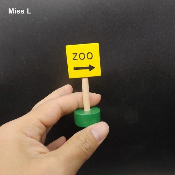 Modelo pequeño Señal de tráfico Dirección del zoológico Bloque de construcción de madera Niños Juguetes educativos para niños