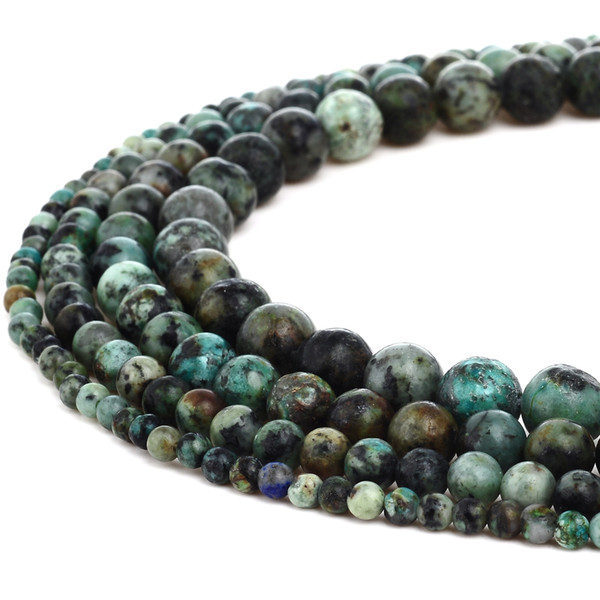 Natural Stone African Turquoise Beads Round Amethyst Gemstone Loose Beads for DIY Bracelet Jewelry Making 1 Strand 15 Inches 4-10 mm