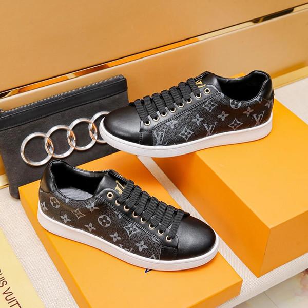 2019p известный роскошный принт логотип из натуральной кожи на шнуровке мужчины кроссовки высокое качество мужская спортивная обувь оригинальной коробке мужская Повседневная обувь EUR 38-44