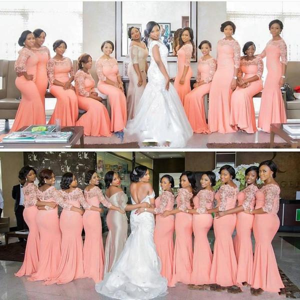 2019 High Quality Coral Satin Mermaid Long Bridesmaid Dresses Sheer Neck Lace Three Quarter Sleeves Wedding Party Dresses BA359