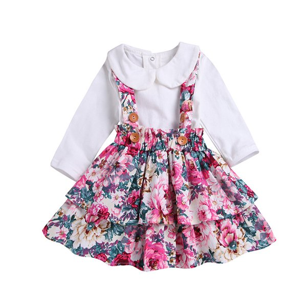 Toddler Girl Clothes Long Sleeves Floral Dress Baby Fall Outfits Pleated Princess Dress Top