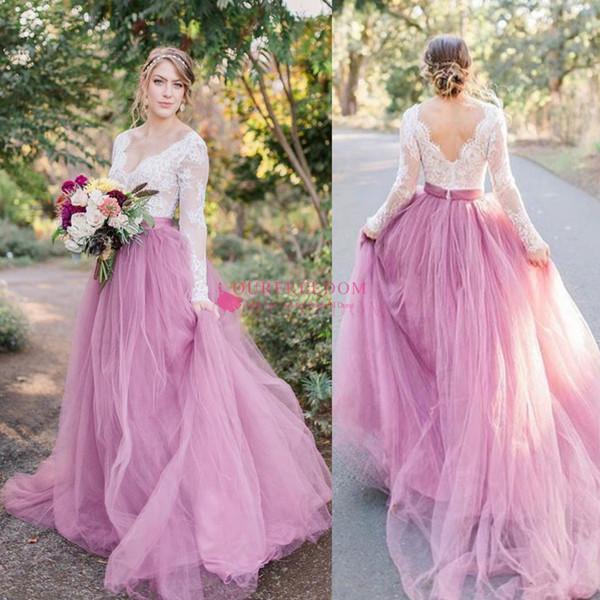 2020 abiti da sposa rosa della Boemia scollo a V manica lunga pizzo sweep treno spiaggia boho giardino abiti da sposa paese robe de mariée plus size