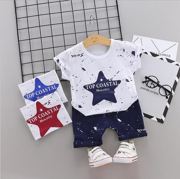 Baby Summer 2019 Nuevos trajes de niños para niños y bebés 1-5T Manga corta Trajes de niños para ropa de verano al por mayor