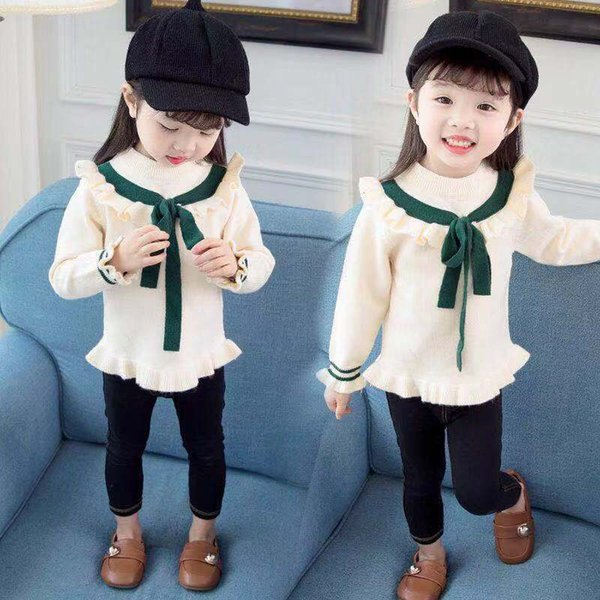 children's clothing autumn baby girls sweaters cotton cute bowknot kids sweaters for winter warm knitted bottoming d