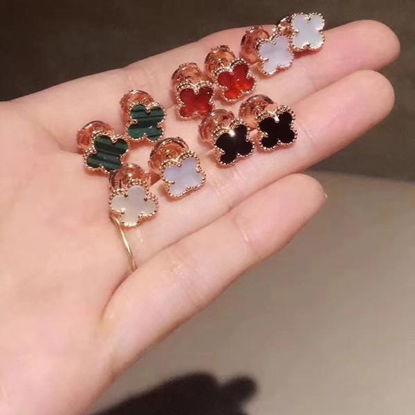 2019 S925 boucles d'oreilles en argent sterling modèles féminins version coréenne des quatre trèfles herbe rose or agate noire mini stud boucles d'oreilles en gros