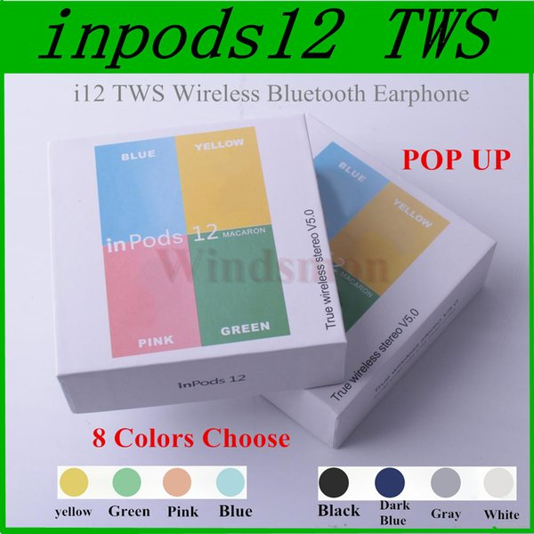 I12 MACARON Color Bluetooth Wireless TWS Inpods 12 Earphone With Pop Up  Window Touch Control HIFI 3D Stereo Inpods12 Sport Headset Earbuds Mobile