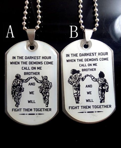 Toptan 2 Adet kardeşime Solider Sürpriz Için paslanmaz çelik kolye kolye dostluk doğum günü köpek etiketi Zincir erkek erkek takı
