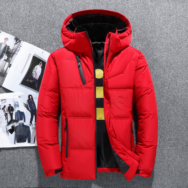 2019 winter new down jacket men white duck down men section casual thickening warm youth men's hooded down coat 1897