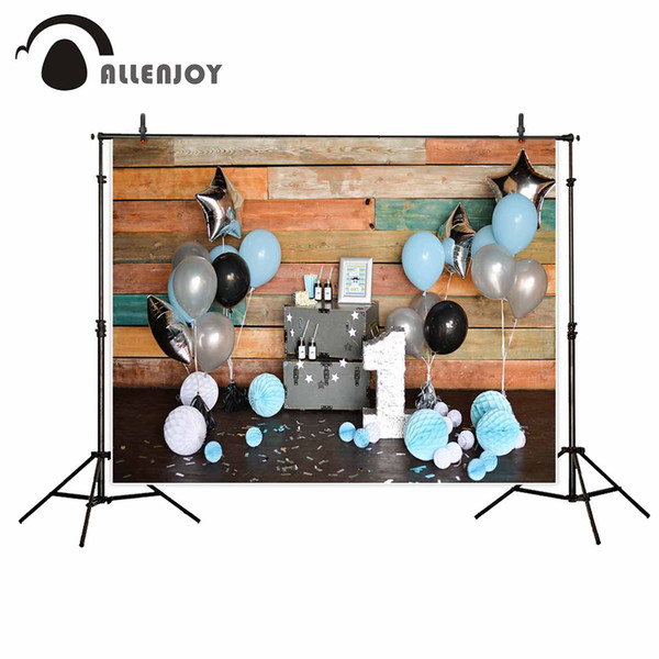 photo Allenjoy photo background wooden wall One year party decorations balloons ribbons birthday party backdrop background