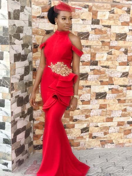 Sexy Rosso Collo Alto Off Spalla Sirena Abiti Da Sera Afican Guaina Appliqued Pageant Abito Balck Ragazza Lungo Formale Prom Party Gown
