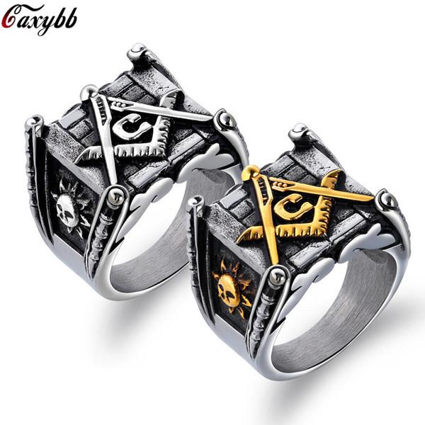 Vintage Gold Stainless Steel Men Ring Big Free Mason Freemasonry Masonic AG Retro Punk Silver Color Titanium Male Ring Jewelry