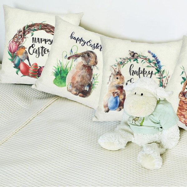 4 Pieces Easter Throw Pillow Covers ,Cotton Linen Cushion Square Pillow Case Decorative Covers for Living Room Sofa Couch
