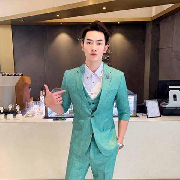 Mens Blazer Homme Half Sleeve Green Jacket Blazer Masculino Slim Fit Prom Dress Chinese Casual Boys Erkek Blaser 2019