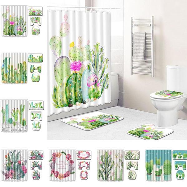 3шт / комплект суккулентных растений шаблон занавески для душа + коврик + унитаз + чехол для ног комплект