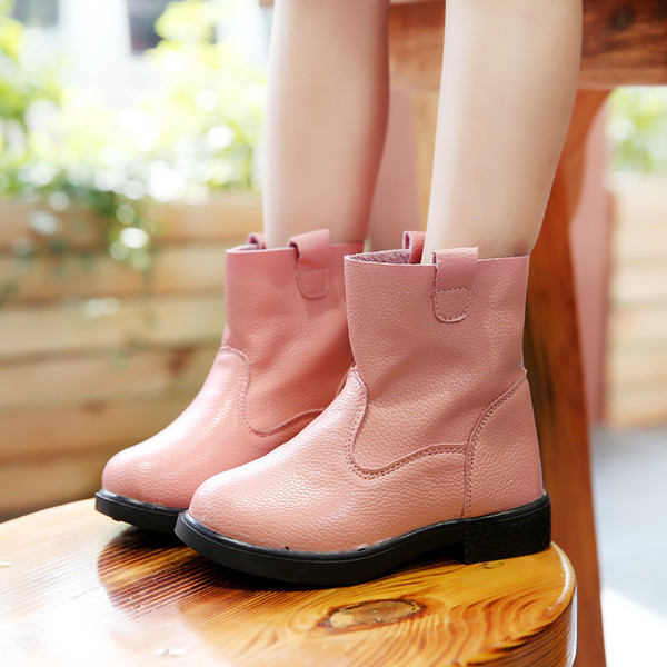 Fashion HDJ1 BOots For Girls Kids Girls Boots PU Leather Slip-on Soft Rubber Boots Girls Shoes Children's Shoes