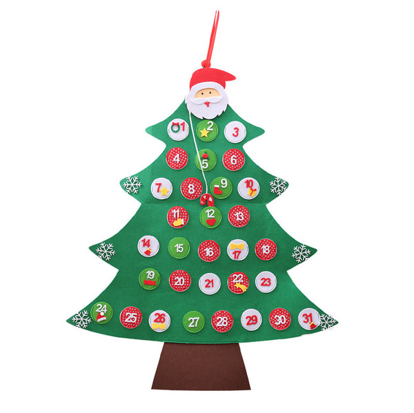 2019 Hot Sale Christmas Tree Calendar With Ornaments Xmas For Child Gifts Door Wall Hanging Decoration Ornaments Gift