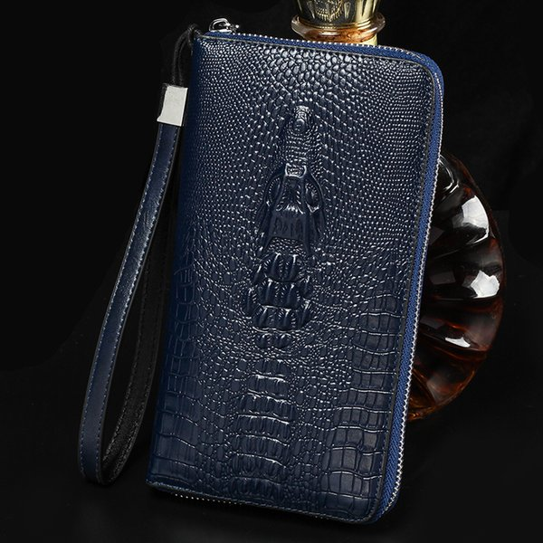 Men's Cow Leather Clutch Bag New Fashion Temperament Crocodile Pattern Wallet Male Money Coin Holder Genuine Leather Purses