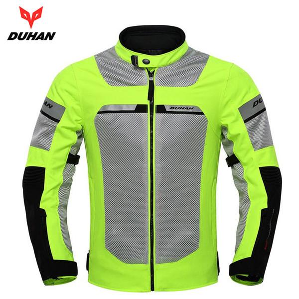 rotective Gears Jackets DUHAN Motorcycle Jacket Motorbike Reflective Racing Jackets Summer Mesh Breathable Moto Clothing Black And Gree...