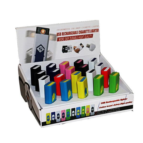 USB wiederaufladbarer Zigarettenanzünder Elektronisches Zigarettenanzünder Winddicht Flammenlos Kein Gas Kraftstoff ABS Flammhemmender Kunststoff Freier DHL