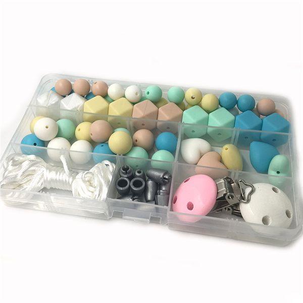 Ensemble de collier de dentition en silicone bricolage, bleu bébé, lavande, kit d'agrafe de sucette de luxe beige menthe, perles en silicone de qualité alimentaire