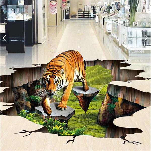Acheter Photo Personnalisée 3d Plancher Mural Auto Sticker Mural Adhésion 3 D L Extérieur Du Tigre Pour Dessiner La Peinture Des Peintures Murales De