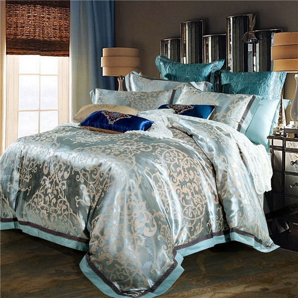 TUTUBIRD-Luxury jacquard silk bed linen blue red pink silver gold satin bedding set queen king size duvet cover sheet set 4pcs