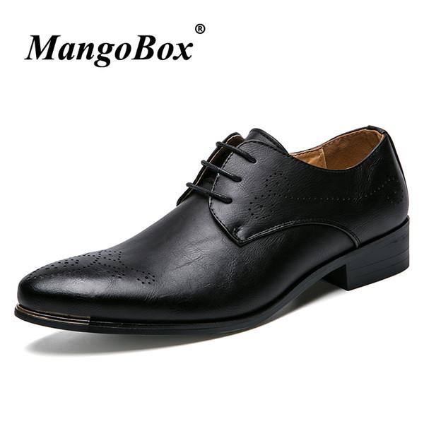 Punta estrecha zapatos de vestir para hombre Negro Blanco Hombres Zapatos de boda Primavera Otoño Formal para hombre Suela de goma PU traje Calzado