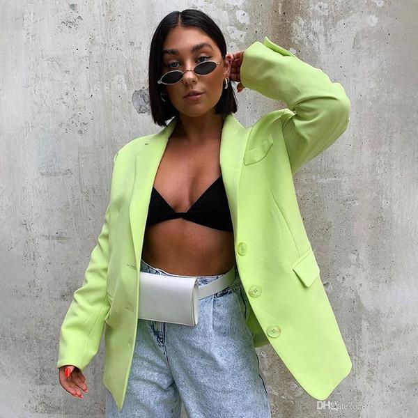 Повседневная Мода Женщины Блейзеры И Куртки Длинные Sleece Твердые Офис Дамы Блейзер 2019 Осень Кнопка Негабаритных Блейзеры Новый