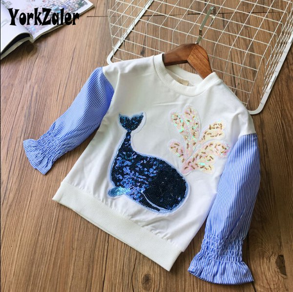 Yorkzaler Spring Autumn Girls Boys Shirt Cartoon Dolphin Striped Kids Blusas O-cuello Elegante Ropa para niños Jersey 3Y-7Y SH190912