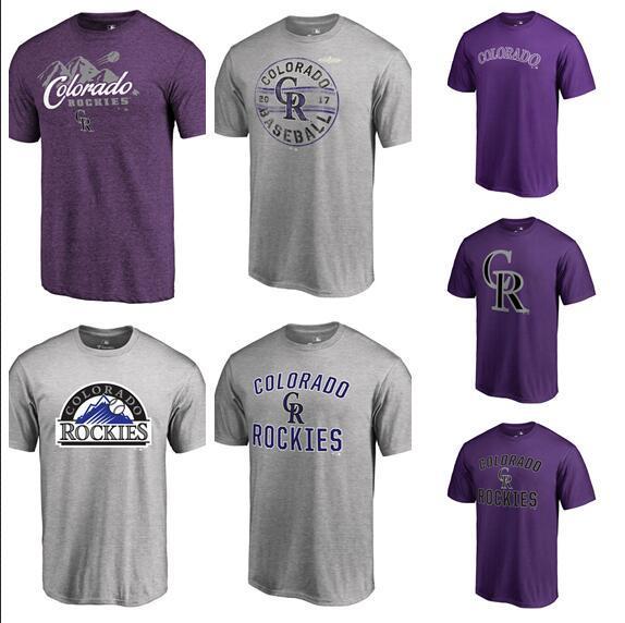 Men's Colorado Baseball Rockies Fanatics Branded Purple Gray Team Tri-Blend T-Shirt