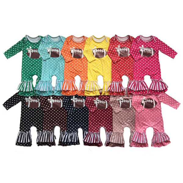 Baby Girl football jumpsuit Toddler polka dot ruffle Romper Infant long /short sleeve Cotton romper 24Colors 6Size