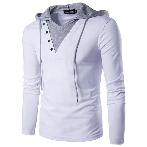 Europeu de grande porte de manga comprida colorblock hoodie, falso de duas peças pullover novo moletom com capuz. 2019 tendência da moda personalidade nova frete grátis