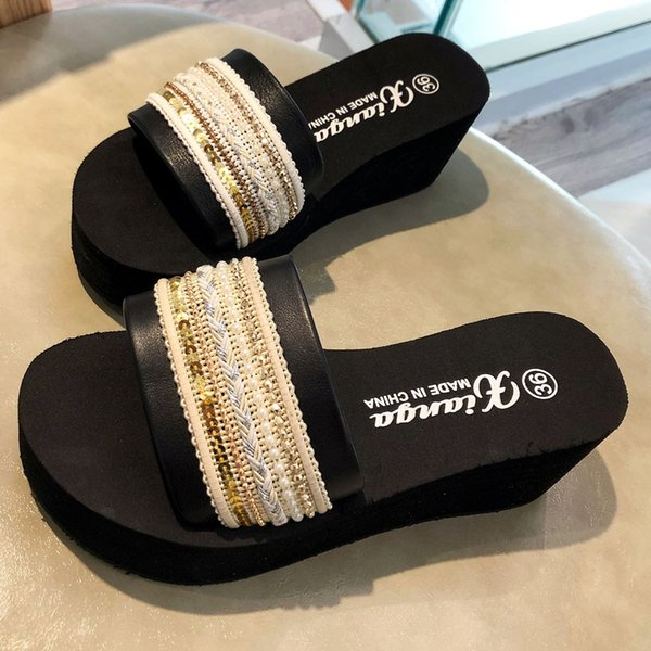 MUQGEW Women's Summer Slippers High Heels Shoes Outdoor Spring Summer National Wind Sandals Casual Slipper Lady Beach Walk Shoes